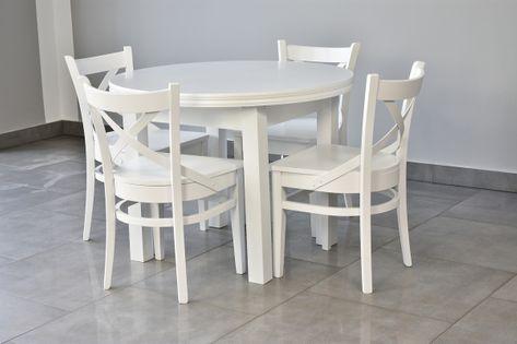 Stół okrągły rozkładany + 4 krzesła drewno