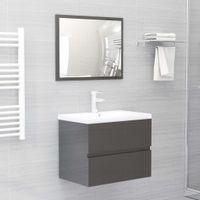 Lumarko 2-cz. zestaw mebli łazienkowych, wysoki połysk, szary, płyta
