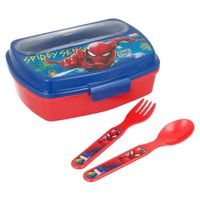 Spiderman Lunchbox ze sztućcami (Łyżka, widelec)