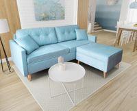 Kanapa Sofa BLUE z pufą  rozkładana bonell Skandynawska