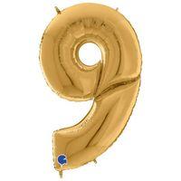Balon foliowy CYFRA 9 ZŁOTY duży GIGANT urodzinowy