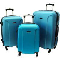 Zestaw 3 walizek PELLUCCI RGL 790 Metaliczno Niebieskie