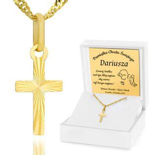 Złoty komplet 585 łańcuszek krzyżyk Komunia GRAWER