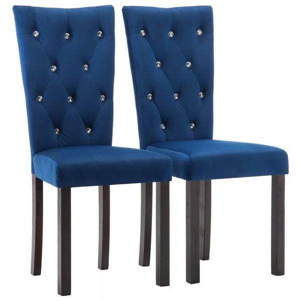 Krzeslo Krzesla Do Jadalni Tapicerowane Aksamitne 2 Sztuki Granatowe