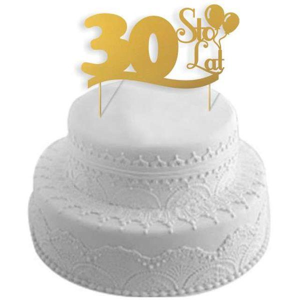 Dekoracja Na Tort 30 Urodziny Cake Topper Złoty Arenapl