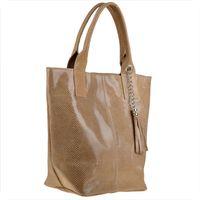 Beżowa torebka shopper skórzana z połyskiem XL