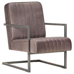 Fotel wypoczynkowy, wspornikowy, postarzany brązowy, skórzany