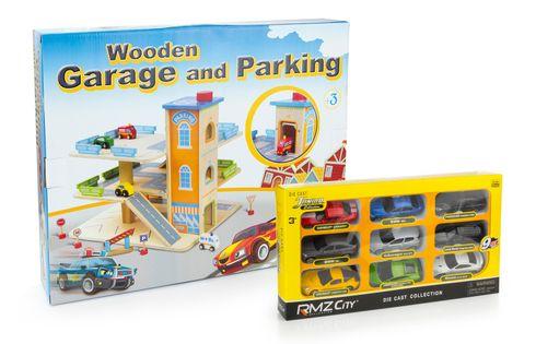 Zestaw promocyjny Drewniany parking/Garaż + samochody resoraki