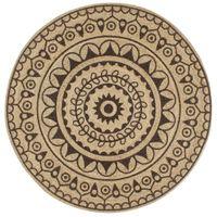 Ręcznie wykonany dywanik, juta, ciemnobrązowy nadruk, 90 cm