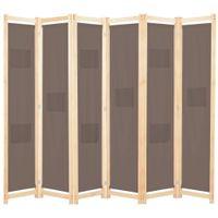 Parawan 6-panelowy, brązowy, 240 x 170 x 4 cm, tkanina