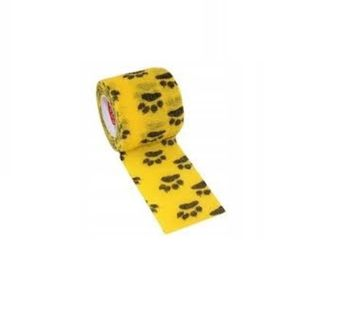 Bandaż kohezyjny samoprzylepny 5cm x 4,5m żółty w łapki
