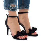 Czarne zamszowe sandały szpilki kokardka r.36