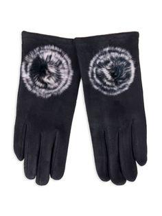 Rękawiczki dziewczęce zamszowe czarne futrzany pompon 21