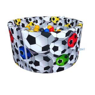 Suchy basen z piłeczkami 200 szt okrągły 90×40 cm kojec – piłki 3D