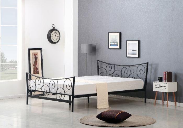 łóżko Metalowe Roma 120x200 Cm Czarne