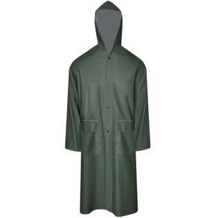 Lumarko Wodoodporny, zielony płaszcz przeciwdeszczowy z kapturem M