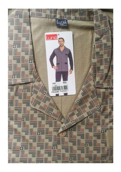 Piżama męska LUNA kod 797 rozpinana beżowy roz. XL zdjęcie 4