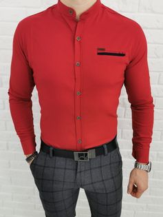 Czerwona meska elastyczna koszula ze stojka slim fit 0338 - L