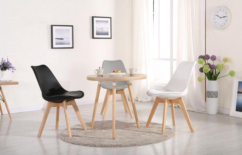 Skandynawskie krzesło CZARNE/BUK KRIS LUGANO TULIP poduszka CL001 dsw zdjęcie 4