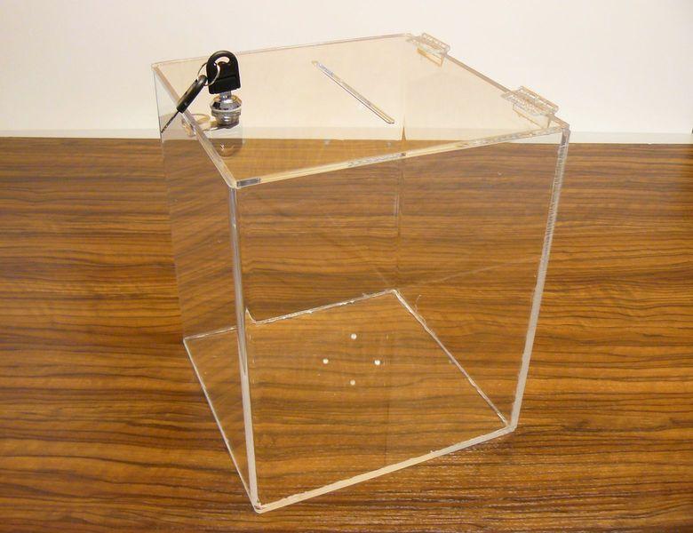 Urna skarbonka puszka skrzynka z plexi przeźroczystej 30x30x40 cm zdjęcie 2
