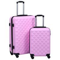 Zestaw twardych walizek na kółkach, 2 szt., różowy, ABS