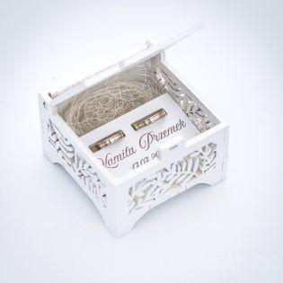 Pudełko szkatułka ażurkowa na obrączki - wzór delikatnych listków