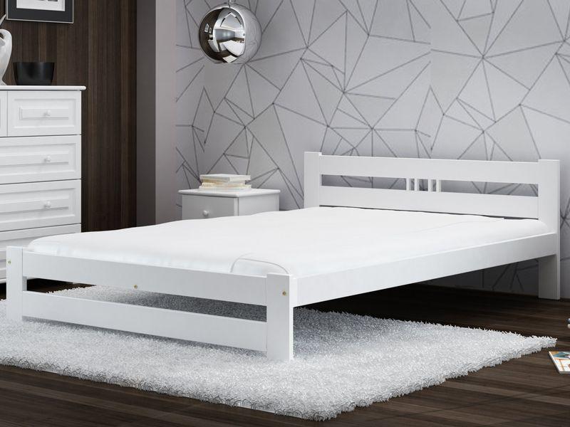 Zestaw łóżko Esm2 140x200 Białe Materac Stelaż