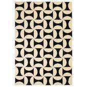 Nowoczesny dywan, wzory geometryczne, 160x230 cm, beżowo-czarny