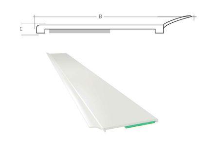 Listwa okienna PCV B=50mm C=1mm biała z uszczelką L=50mb