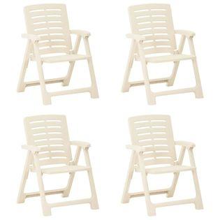 Lumarko Krzesła ogrodowe, 4 szt., plastikowe, białe;