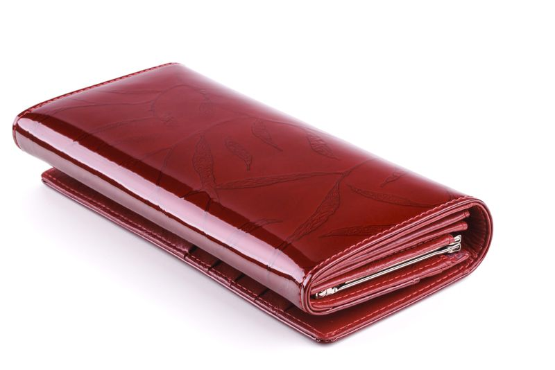 Portfel skórzany damski Zagatto czerwony w liście RFID ZG-100 Leaf zdjęcie 3