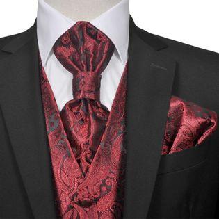 Męska kamizelka ślubna z akcesoriami, wzór paisley, 52, burgund