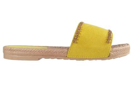 Żółte klapki damskie z cyrkoniami płaskie buty 37