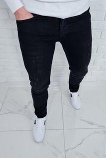 Czarne spodnie jeansowe meskie slim z przetarciami B-378 - 31