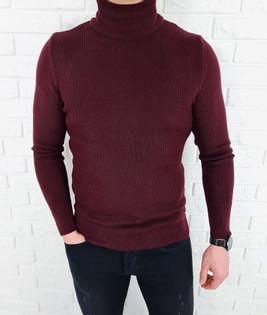 Bordowy sweter golf męski basic 3534 - XXL