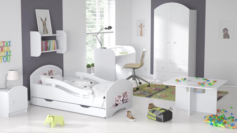 Łóżko dziecięce łóżeczko 140x70 białe szuflada materac dla dziecka zdjęcie 9