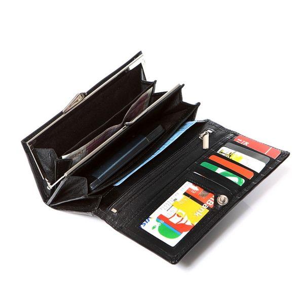 Czarny damski portfel elegancki DUŻY na bigiel skóra naturalna zdjęcie 3