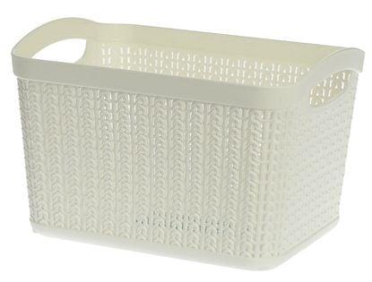 Koszyk kosz prostokątny organizer WILLOW 6,6 l biały ażurowy sweterkowy wzór