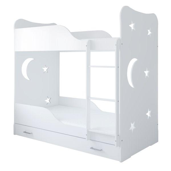 Łóżko piętrowe STARS 180x80 + 2 materace piankowe + pojemna szuflada na Arena.pl