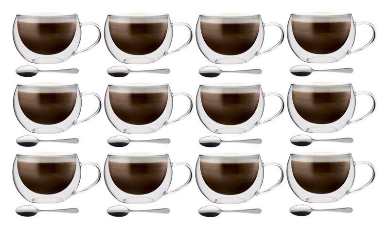 Szklanki Termiczne z Podwójną Ścianką do Kawy 300ml z Łyżeczkami 12szt zdjęcie 1