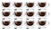 Szklanki Termiczne z Podwójną Ścianką do Kawy 300ml z Łyżeczkami 12szt