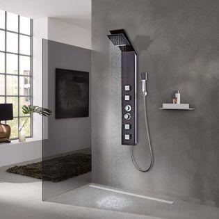 Panel Prysznicowy, Szklany, Brązowy