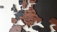 Mapa świata na ścianę 16mm drewno 180x90 drewno