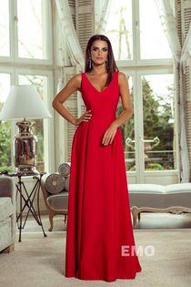 Rozkloszowana długa Sukienka MAXI SUKNIA WESELE KLAUDIA CZERWONA 36