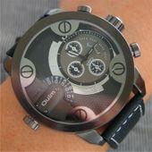 Zegarek męski Oulm 3130 wodoszczelny, czarny, czerwony, skórzany pasek zdjęcie 7