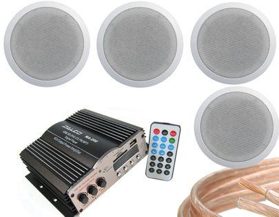 4 GŁOŚNIKI SUFITOWE + WZMACNIACZ USB SD FM ZESTAW