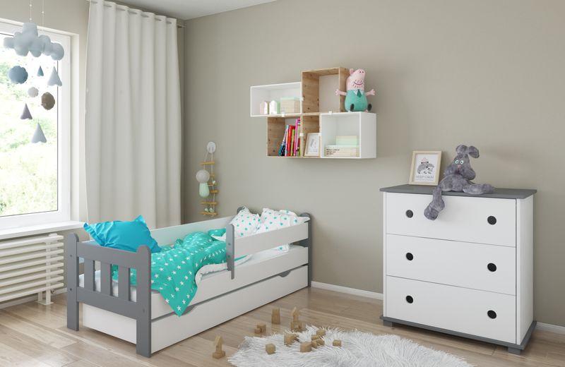 Łóżko STAŚ 140 x 70 z szufladą + barierka ochronna + MATERAC GRATIS zdjęcie 16