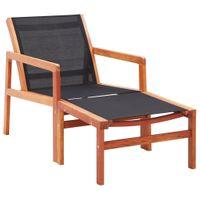 Krzesło z podnóżkiem eukaliptus i textilene VidaXL