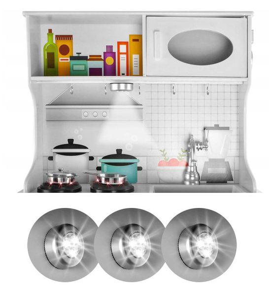 Kuchnia Drewniana Dla Dzieci Kuchenka Metalowe Garnki Światła Akcesoria Z371K zdjęcie 6
