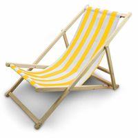 Leżak Plażowy Leżak ogrodowy Biało-Żółte Paski
